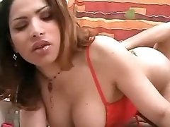 Tranny in red seduces guy