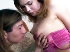 Shemale sucks asian cock
