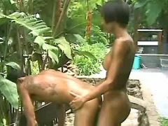 Ebony shemale fucks guy