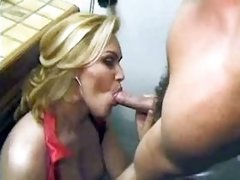 Blond shemale sucks cock