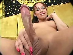 Hot longhair shemale masturbating